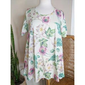 LULAROE Floral Ivory Print T shirt